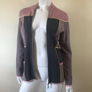 Escada Sz M Zip Up Cardigan Pink Gray